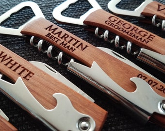 Groomsmen Gift, Bottle Opener, Personalized Bottle Opener, Wedding Gift, Engraved Corkscrew, Custom Bottle Opener, Custom Wine Opener