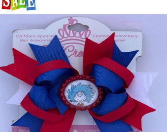Cat in the Hat, Thing 1  hair bow, Cat in the Hat hair bow