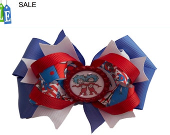Cat in the Hat, Thing 1 and Thing 2 hair bow, Cat in the Hat hair bow Thing 1 hair bow Thing 2 hair bow
