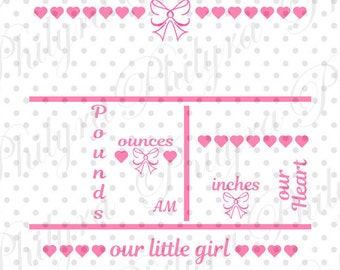 Baby Girl Birth Statistic Template, Birth Announcement Svg, Birth Statistic Svg, Digital Cutting File