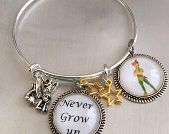 Peter Pan bracelet,Never grow up peter pan inspired cabochon Bracelet, Tinker Bell bangle bracelet adjustable bracelet,peter pan jewelry