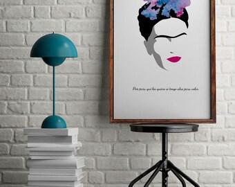 Frida Kahlo print for home decor, Frida Kahlo illustration, gift for her