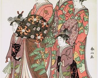 "Japanese Ukiyo-e Woodblock print, Shunzan, ""The Coutesan Kasugano of The Ogi-ya House"""