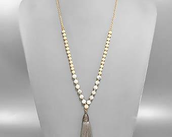 White Tassel & Howlite Stone Necklace