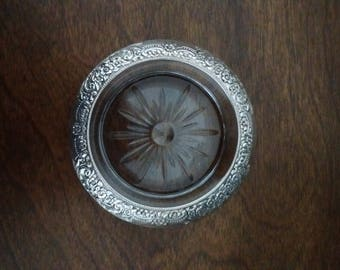 Vintage Glass Coaster with Sterling Flowered Band, Sterling Flowered Banded Glass Dish