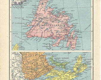 1940s  map  of newfoundland and nova scotia  antique map vitage wqll decor