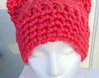 Pink PussyHat Project, Pink PussyCat Hat, Cat Ears Hat, Cat Hat, Kitty Hat, Kitty Ears Hat, Cat Beanie, Cat Ear Beanie, Crochet Hat, Custom