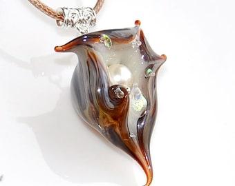 Pendant shell, pendant glass shell, bead, shell with pearls, glass bead, murano glass, sea, jewelry, brown, gray, sea pendant, sea shell