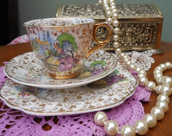 CRINOLINE LADY TRIO - Gift boxed - Lavender Lady - 1930's - Art deco - Vintage china tea set -Cup Saucer Plate - Afternoon tea - Gold chintz