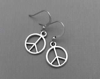 Peace Earrings, Silver Peace Sign, Peace Sign Earrings, Peace Jewelry, Boho Charm