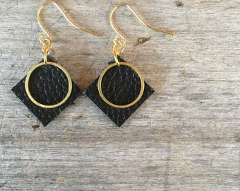 Black Circle Leather Earrings - Leather Earrings - Boho Earrings - Leather Drop Earrings - Leather Dangle Earrings - Gift for Her