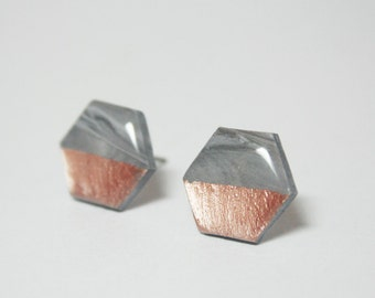 Marble Hexagon Earrings, Rose Gold Dipped Stud Earrings, Rose Gold Studs, Titanium Hypoallergenic Earrings