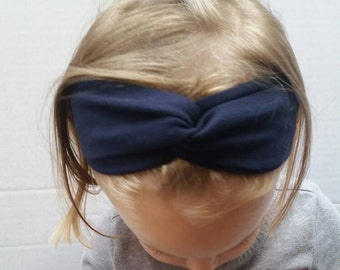 Navy twisted turban headband, designer cotton headwrap