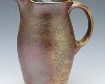 Kazegama Fired, Ash Glazed Ceramic Pitcher with Flashing Slip