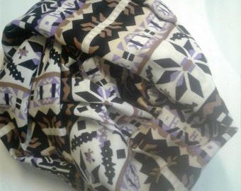 Black Pecan Lavender Tribal Infinity Scarf, Challis Stripe Scarf, Multi Challis Scar Challis infinity Scarf, 8.5 x 72, Stripe Circle Scarf,