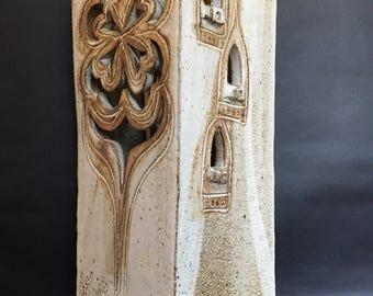 "Ceramic Stoneware Castle Art 14 1/2"" Tall Luminara? Cutouts signed Breckers"