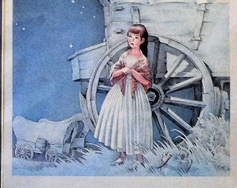 1945 Little Girl & Covered Wagon Matted Vintage Print
