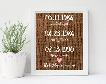 The Best Days Of Our Lives Print or Printable, Personalized Dates and Names Print, Digital, Burlap, Customize, Christmas Gift, Gift For Her