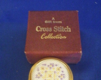 Small Cross Stitch Patterned Lidded Pot Boxed