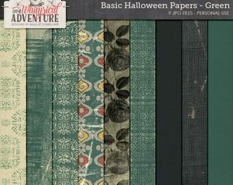 Grungy Paper Pack, Ornamental Pattern, Halloween Pumpkin, Digital Paper, Instant Download, Grunge Roses, Digital Scrapbooking Paper, Burlap