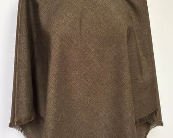 Brown heather suiting poncho with knit collar