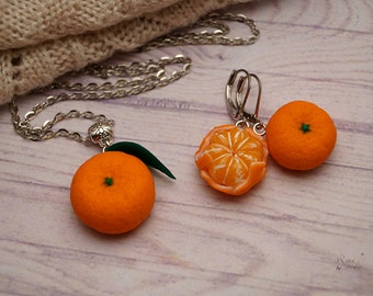 Tangerine Jewelry Set, Orange Fruit Jewelry Necklace Earrings, Mandarin Polymer Clay Summer Jewelry, Tangerine Necklace, Tangerine Earrings