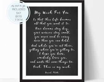 Graduation Gift, My Wish For You, Rascal Flatts, Gifts For Girls, Gifts For Boys, Birthday Gift, Chalkboard Print, Graduation Present D15-21