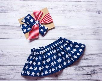 Baby Girl Skirt- Stars & Stripes Skirt Set, USA skirt, 4th of July skirt, red white and blue girls outfit