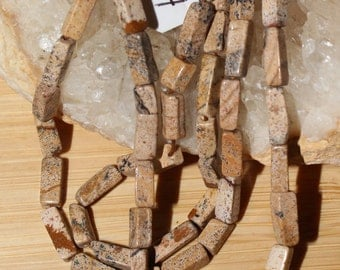 """14"""" Strand of 10 X 4mm Smooth Rectangle Shaped Picture Jasper Beads #84"""