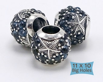 925 Sterling Silver Starfish Beads Large Holes--1 Pc | 10-STAR-1