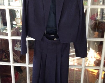 80's wool skirt suit, navy size 4