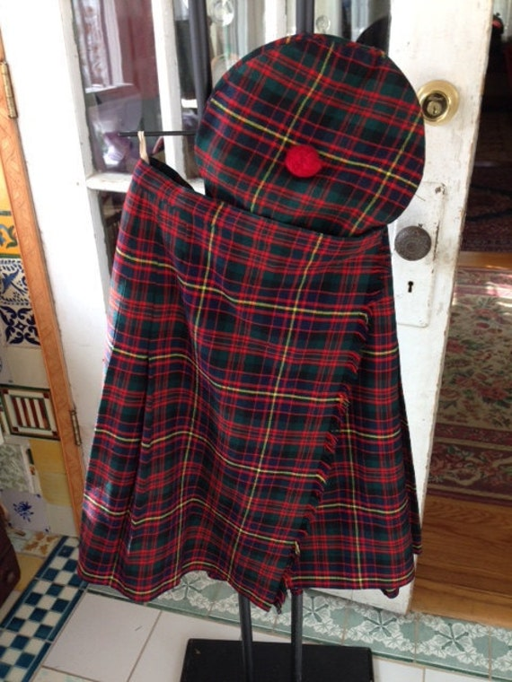 Vintage Scottish Kilt and beret