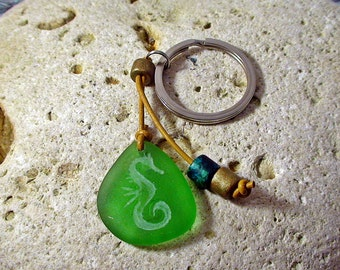 Seahorse Keychain - Beach Lover Keychain - Seaglass Keychain - Beach Lovers Gift - Gift Under 20 - Beach Christmas Gift - Nautical Gift