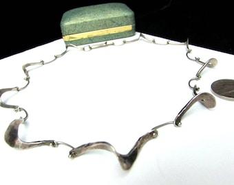 vintage modernist sterling silver choker necklace | unique boomerang sculptural link minimalist artsy 925 modern ooak one of a kind unusual