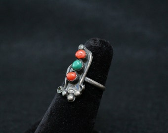 Old Pawn Coral and Turquoise Ring, Native American Ring, Navajo Jewelry, Harvy Era, Early Silver Ring, Coral Jewelry (AS IS)