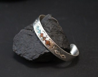 Sterling Silver Crushed Turquoise Inlay Native American Cuff Bracelet