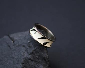 Sterling MILOR Enamel Band Ring, Milor Jewelry, Zebra Print Jewelry, Italian Enamel, Sterling Silver Enamel Jewelry, Black and White Ring