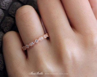 0.64 ct.tw Milgrain Marquise and Dot Ring-Brilliant Cut Diamond Simulants-Stackable Ring-Rose Gold Plated-Solid Sterling Silver [5216RG]