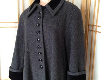 Vintage Coat Wool Winter Coat Black Swing Coat by MDP Mario Di Pinto Black Wool Coat Black Coat Vintage Black Coat Pea Coat