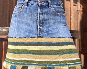 Wool and denim skirt