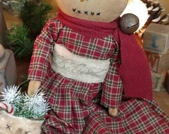 Primitive Snow girl Snowgirl doll Winter Christmas Faap Hafair Haha