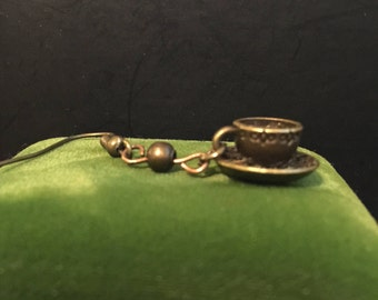 Teacup or Coffee Vintage Brass Earrings