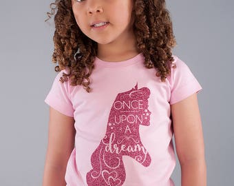 Once Upon a Dream Pink Shirt  (Infant, Toddler, Youth, Adult) Girls - aurora, sleeping beauty, glitter, disney, vacation, birthday, princess