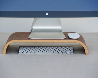 Monitor stand made of wood, iMac stand