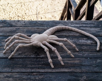 FaceHugger, Alien Face Hugger,  Crochet Alien 40 inches, Xenomorph, Crochet FaceHugger Toy Horror