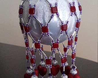 Beaded Valentine Heart ornament bauble cover