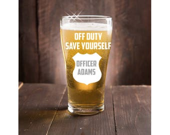 Police Retirement Gift~ Personalized Beer Glass~ Police officer gift~ Graduation Gift~ cop gift~ officer gift~ funny gift~ Thin Blue Line