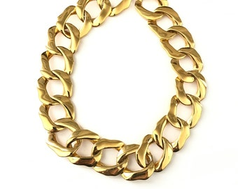Vintage Gold Oversized Link Curb Chain Necklace