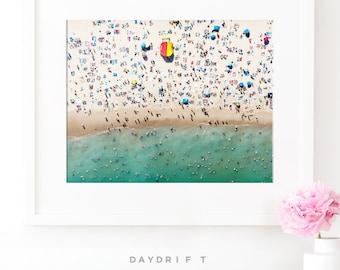Framed Bondi Beach Photo Print // Aerial Beach Photography // Sunbaking Summer // Large Beach Prints // Beach People