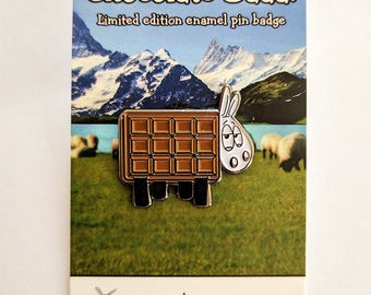 Funny sheep pin badge, Chocolate Baaa!, enamel pin, sheep gift, sheep pin, funny badge, cute pin badge, lapel pin, hat pin, chocoholic, puns